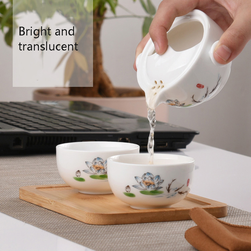 Kung fu gaiwan teapot teacup Travel tea set Include 1 Pot 2 Cup personal office travel portable Teaware bag Free shipping