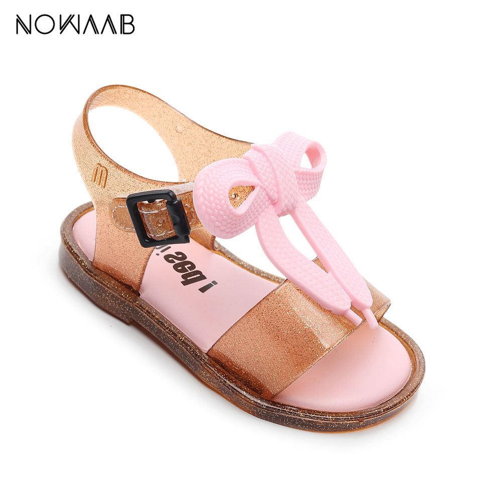 Mini Melissa 2020 Girls Summer Jelly Sandals Shoes Princess Sandals Kids Beach Sandals Non-slip Toddler Sandalias