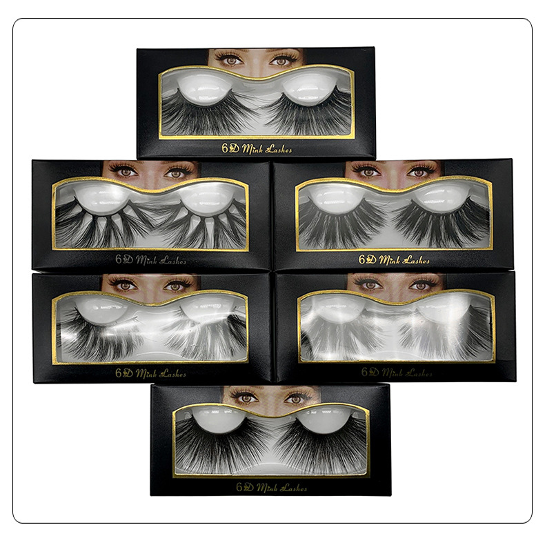 25 Mm Lashes 3D Mink Lashes 6D 27mm Lashes Strip Lashes Handcrafted 100% Cruelty-free False Eyelashes Natural Makeup 6D01