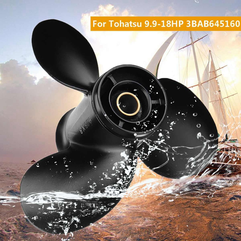 Outboard Propeller 3Bab645160 9.25 X 8 For Tohatsu-Mercury 9.9-20Hp Standard Rotation Aluminum 3 Blades 14 Spline Tooth