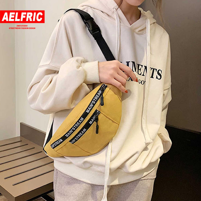 AELFRIC vrouwen Pack Casual Canvas Borst tas Eenvoudige Rugzak Outdoor Sport Stijl Heuptas Bum Riem Zakken Been Pouch