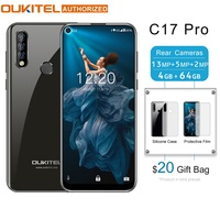 OUKITEL C17 Pro 6.35 19:9 Android 9.0 Mobile Phone MT6763 Octa Core 4G RAM 64G ROM Fingerprint 4G 3900mAh Smartphone