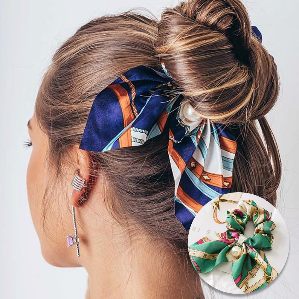2019 New Chiffon Bowknot Elastic Headband For Women Girls Pearl Scrunchies Hair Bands Hair Ties Ponytail Holder Hair Accessories