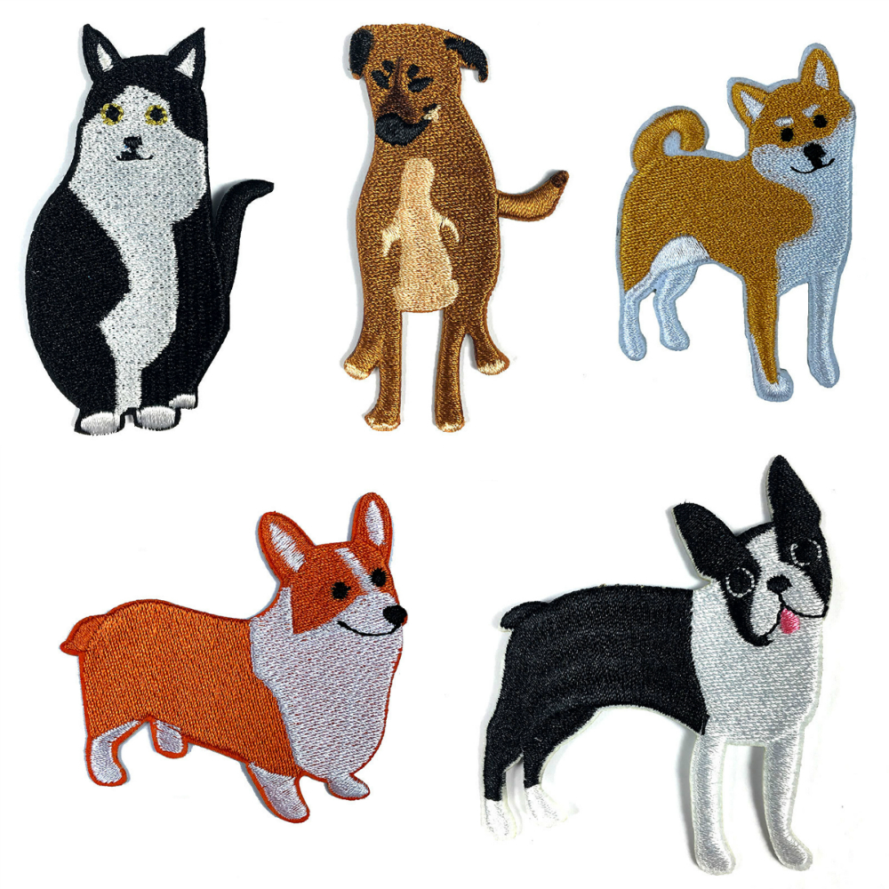 Lychee Life Dog Embroidered Patches Cute Animal Patches Supplies Handmade Sewing On Clothes Bags Accessories