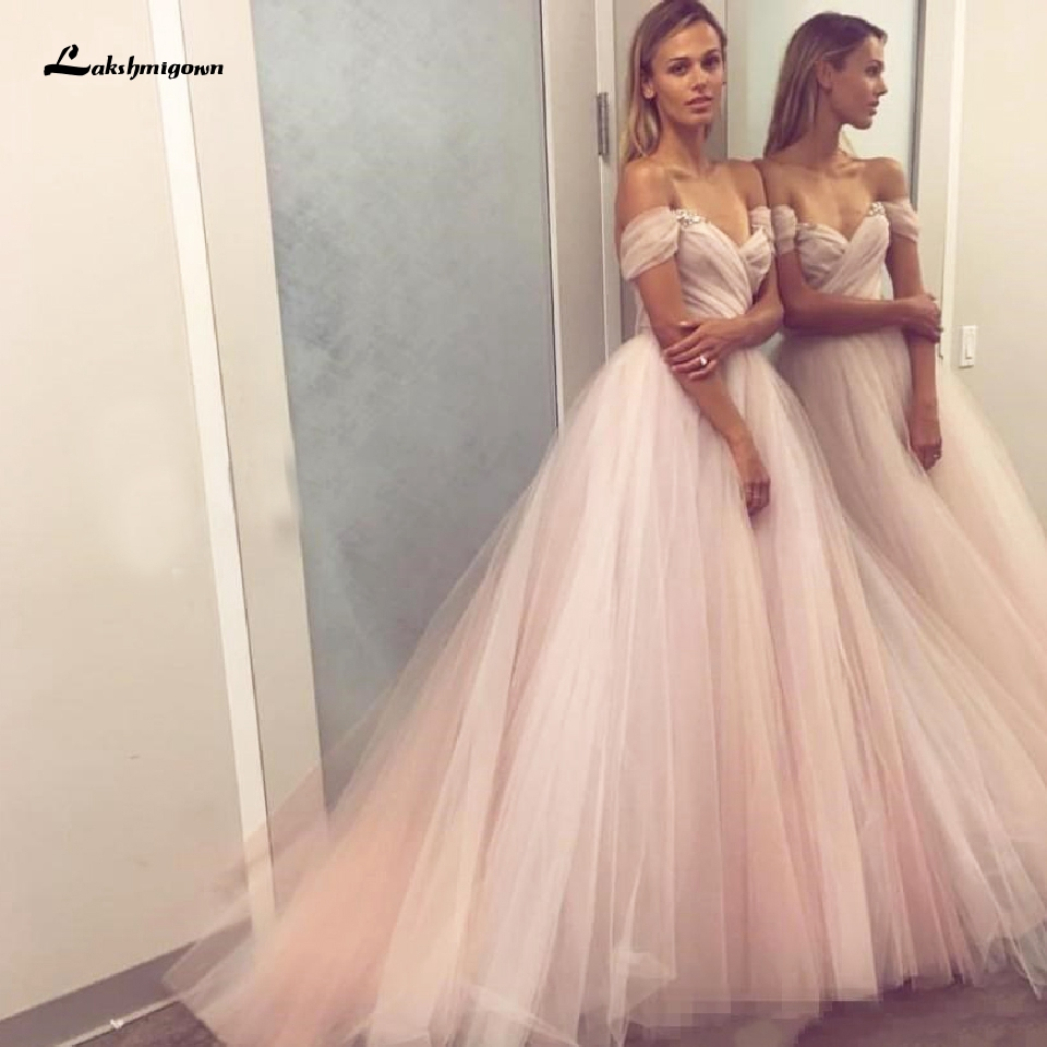 Blush Pink Princess Wedding Dress Off Shoulder Chic Bridal Gown Robe De Mariee 2020 China Custom Made Beach Wedding Dress
