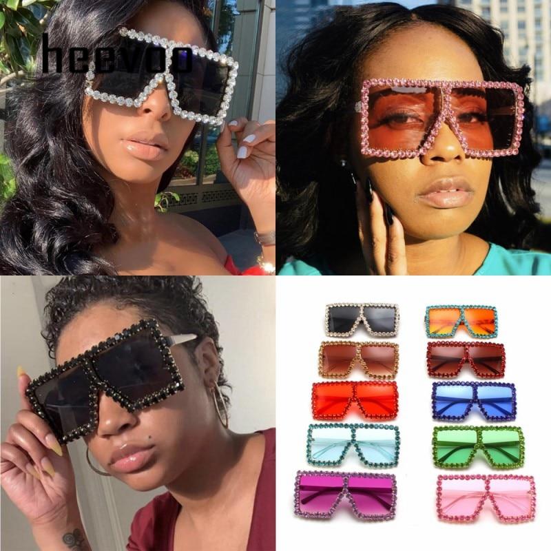 Brand Designer Crystal Oversized Sunglasses Women Mirror Fashion Big Rhinestone Rays Shades Square Sun Glasses Lady Diamond