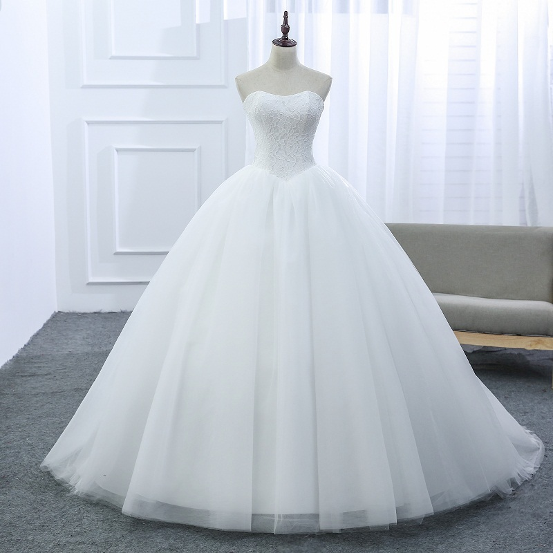 LAMYA Custom Wedding Dress 2019 Cheap Celebrity Strapless Vintage Tulle Bridal Ball Gown Organza Lace Bridal Dresses D-14018