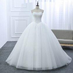 Lamya Custom Trouwjurk 2019 Goedkope Celebrity Strapless Vintage Tulle Bridal Baljurk Organza Lace Bridal Jurken D-14018