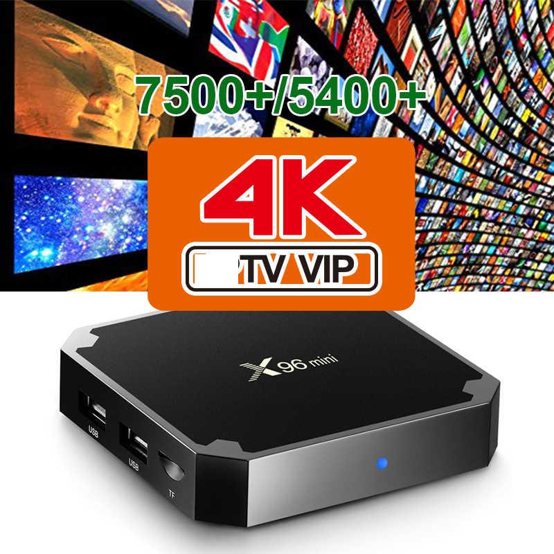 Terbaik Eropa IPTV 7000 + Android 9.0 TV Box Bahasa Portuges Afrika Maroko Smart IP TV Box Hanya Tidak Ada Saluran Termasuk