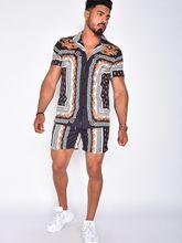 Summer Men Suit Beach Printing Lapel With Short Sleeves Button Shirt Beach Shorts Streetwear Casual Men's Sand Beach Two-Piece