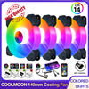 Coolmoon 140mm 6Pin RGB CPU Cooling fan Heatsink Dissipation for Gaming Cooler 14cm Computer Case CPU Cooler fan with Controller