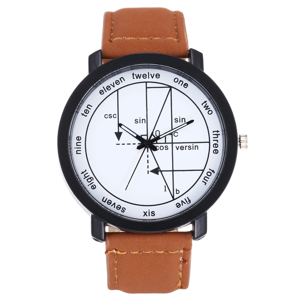Twelve English Scale Geometric Dial Men And Women Casual Fashion Quartz Watch