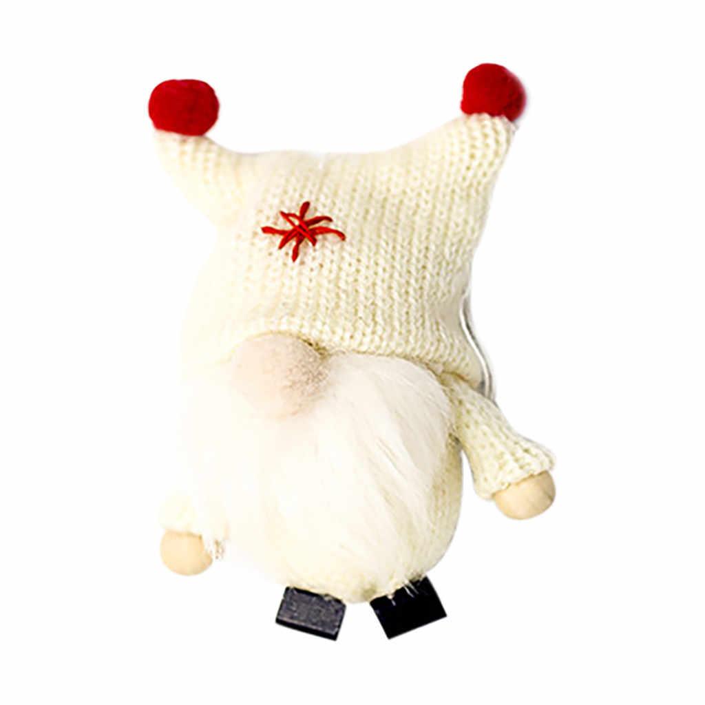 Hecho a mano de lana de peluche de juguete muñeco de Papá Noel colgante de Gnomo escandinavo Tomte Dutch nórdico Elf hogar ornamentos Navidad Santa 109