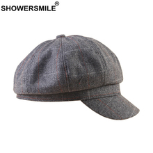 SHOWERSMILE British Syle Newsboy Cap for Women Wool Gray Plaid Beret Vintage Peaky Blinder Brand New Woolen Female Octagonal