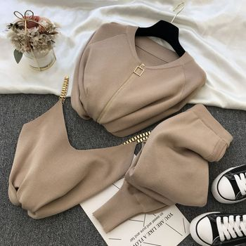New 3pcs Knitting Suit Long-sleeved Zip Jacket Cardigans Tank Top Pants Women Fashion Solid Lounge Set Casual Tracksuits 10