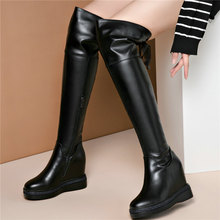 New Casual Shoes Women Lace Up Genuine Leather Wedges High Heel Knee High Boots Female Round Toe Platform Thigh High Pumps Shoes