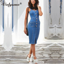 Женское джинсовое платье миди colysmo синее длинное облегающее