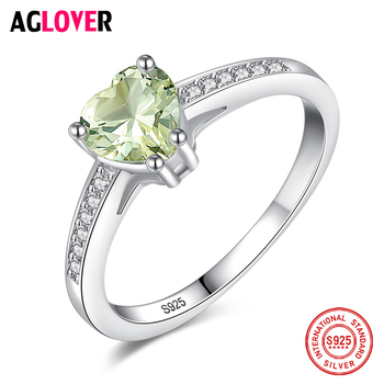 AGLOVER Romantic Heart Shaped Ring 925 Sterling Silver Green Zircon Ring For Women's Fine Jewelry Party Birthday Gift Genuine