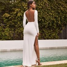 Autumn Sexy Backless Women Winter Long dress long-sleeve white party dresses 2019 New drop shipping