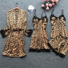 Leopard print Sexy Women Pajamas Sets Satin Sleepwear Pijama Silk Home Wear Embroidery Slee