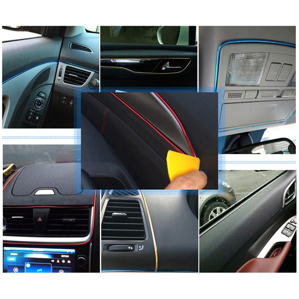 5M Red Car Interior Decor Door Chrome Moulding Trim Strip Decal Line