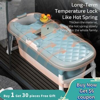 Free Shipping 1.4m/55in  Large Bathtub  Adult Bath Tub Barrel Sweat Steaming Bathtub Plastic Folding Thicken Bathtub Home Sauna