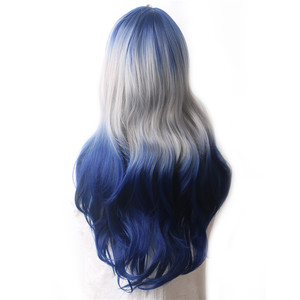 Image 2 - WoodFestival Synthetic Wig Heat Resistant Female Colored Wigs for Women Ombre Blue Grey Purple Green Pink Black Wavy Long Hair