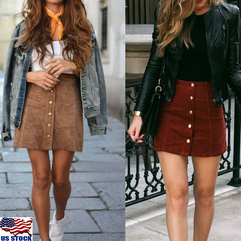 2019 Newest Fashion Women High Waisted Pencil Skirt Bodycon Button Suede Leather Short Solid Mini Skirts