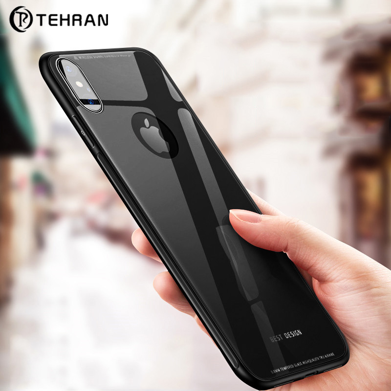 Tehran <font><b>Original</b></font> With Logo Glass <font><b>Case</b></font> For <font><b>iPhone</b></font> Xs Max Xr X <font><b>8</b></font> 7 6 6s Plus 8plus 7plus Coque Fundas Luxury Ultra Thin Back Cover image