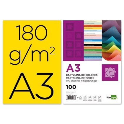 CARDBOARD LIDERPAPEL A3 180G/M2 YELLOW PACKAGE 100