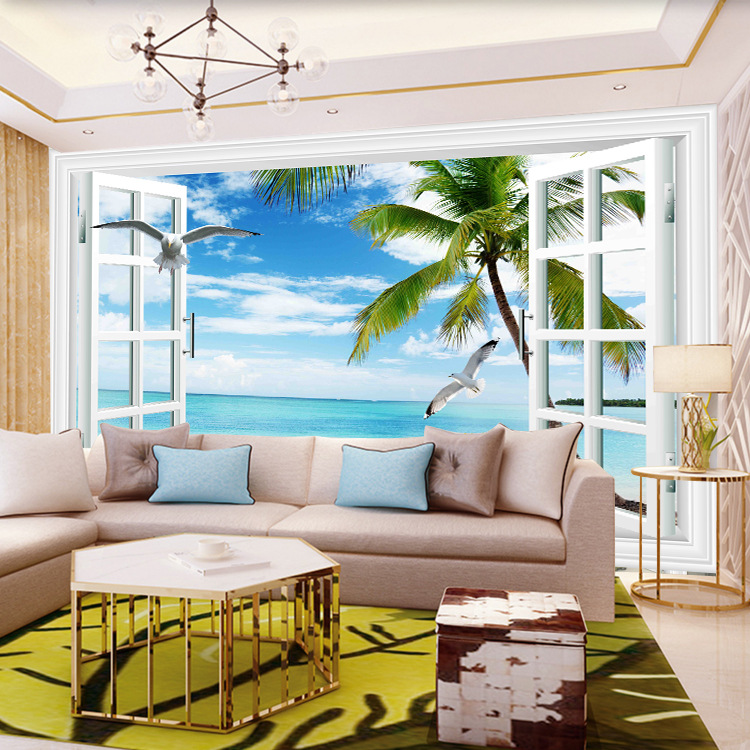 Sea View Beach Palm Wallpaper 3D Mediterranean Scenery Large Mural Blue Sky And White Clouds Hotel Living Room Wallpaper