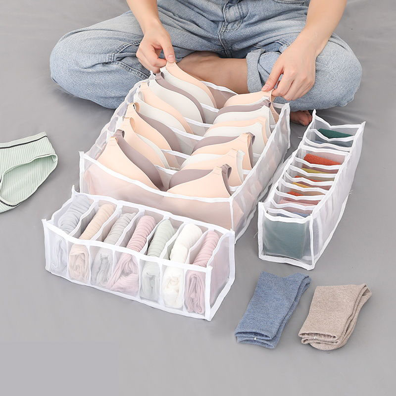 Foldable Underwear Storage Box with 6/7/11 Compartments Socks Bra Underpants Wardrobe Drawer Closet Organizer Divider Box 2020