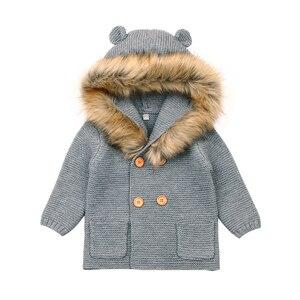 Image 5 - Трикотажные свитера с капюшоном для мальчиков и девочек, двубортная верхняя одежда с пушистым воротником и мультяшными ушками, цвета хаки, серый, 6 24 месяцев