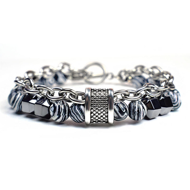 STAINLESS STEEL NATURAL STONE BRACELET