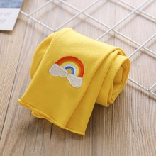1-6T Baby Girl Pants Toddler Children Kids Autumn Rainbow Embroidered Ribbed Comfortable Cotton Casual Loose #m
