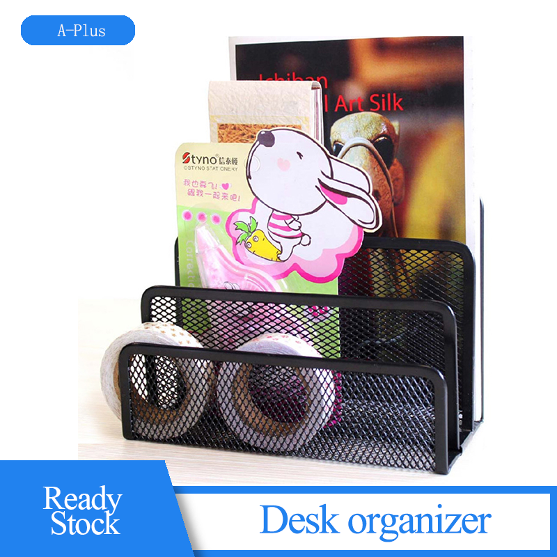 Black Metal Mesh Desk Organizer Desktop Letter Sorter Mail Tray File Office Home Bookends Book Holder 17.5*8.2cm Droppshipping