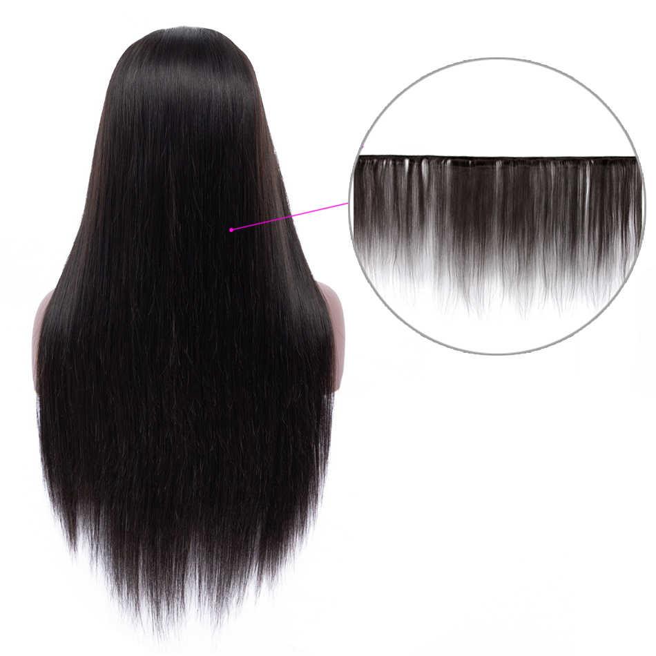 Remy recta 13x4 peluca Frontal de encaje pelo humano Real Toppers 150% pelo brasileño mujeres peluca trenzada Pre desplumado Frontal cosido en