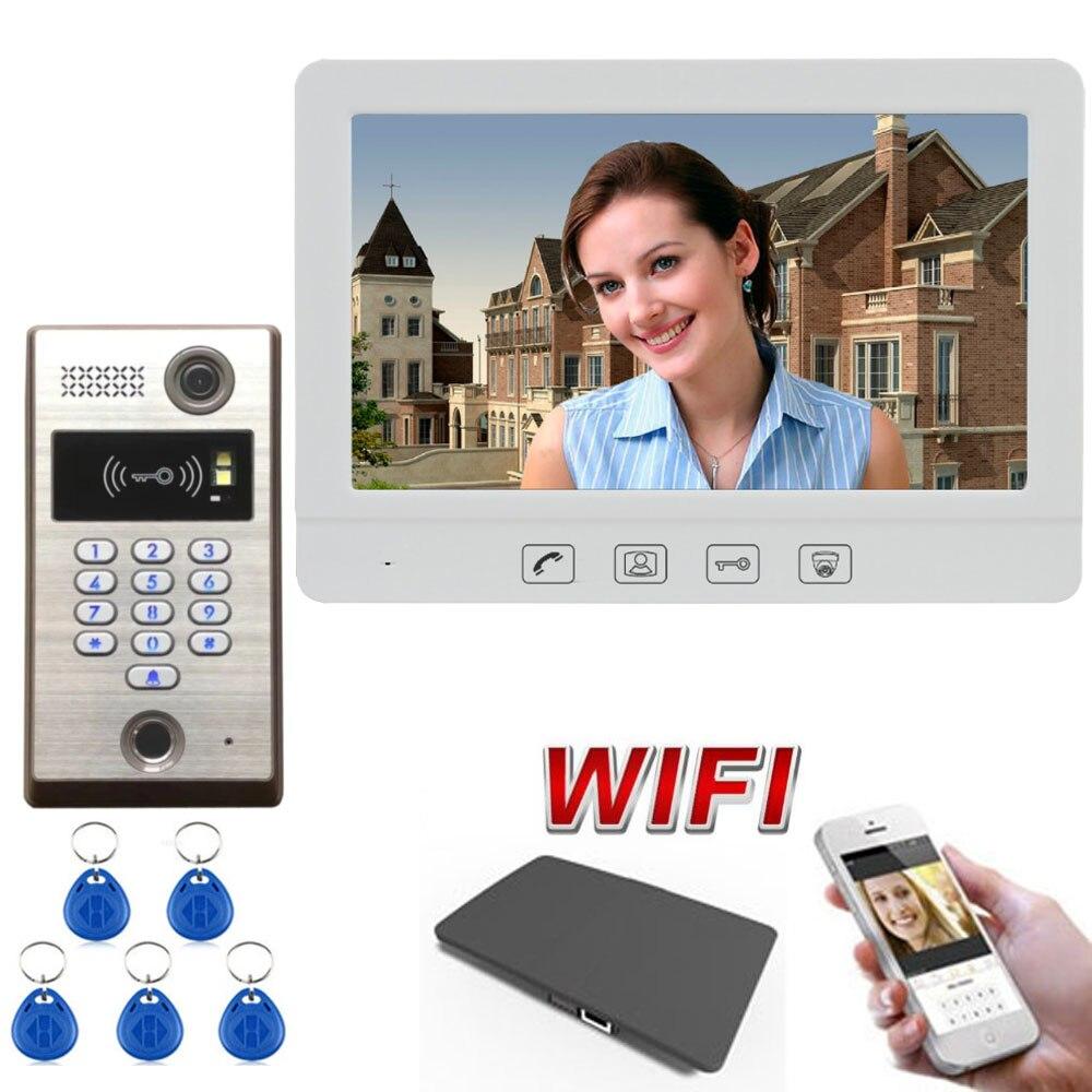 Touch Key 10.1 Inch Wireless WiFi Smart Video Door Phone Intercom System Support Fingerprint RFID Password Unlock