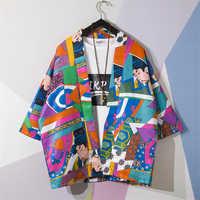 Traditional Japanese Style Kimono Ukiyo-e Cartoon Print Yukata Shirt Summer Fashion Haori Harajuku Beach Outwear Coat