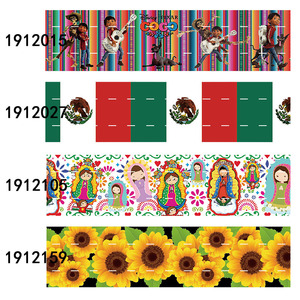 (50 yards/lot) 2020 New liston 3 inch 75mm Mexican flower and doll printed grosgrain ribbon(China)