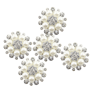 5 Pieces 30mm Crystal Rhinestone Pearl Flower Embellishments Buttons Flatback