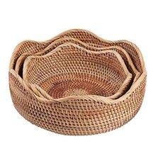 Круглая плетеная корзина для фруктов плетеный поднос еды Плетеный