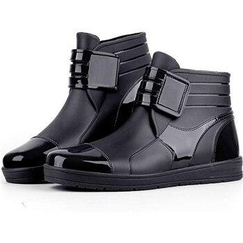 Men's Rain Boots Hot Sale PVC Waterproof Ankle Boots Non-Slip High Quality Low Top Male Rubber Rainny Shoes Black Blue
