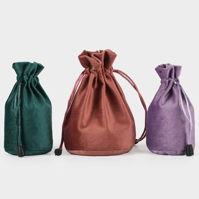 20pcs/lot 6x12.5cm Black/Purple/Brown/Grey/Green Round Bottom Sweet Candy Pouch Velvet Drawstring Bags Wedding Favors
