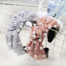 Korean style women plaid hairband knotted headband pearl fashion hair hoop autum winter accessories