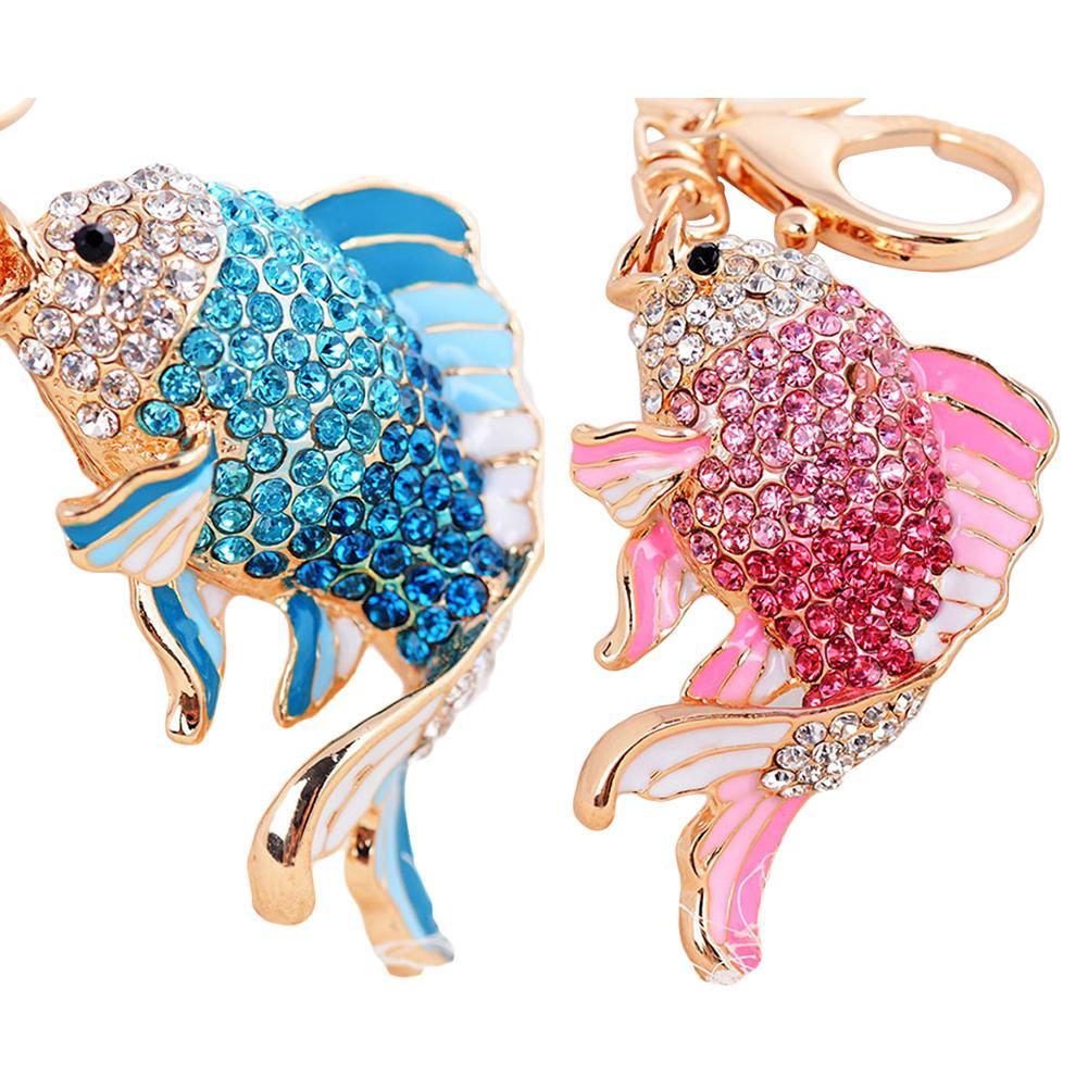 Fashion Unisex Rhinestones Carp Fish Pendant Keychain Alloy Clasp Key Ring Chain