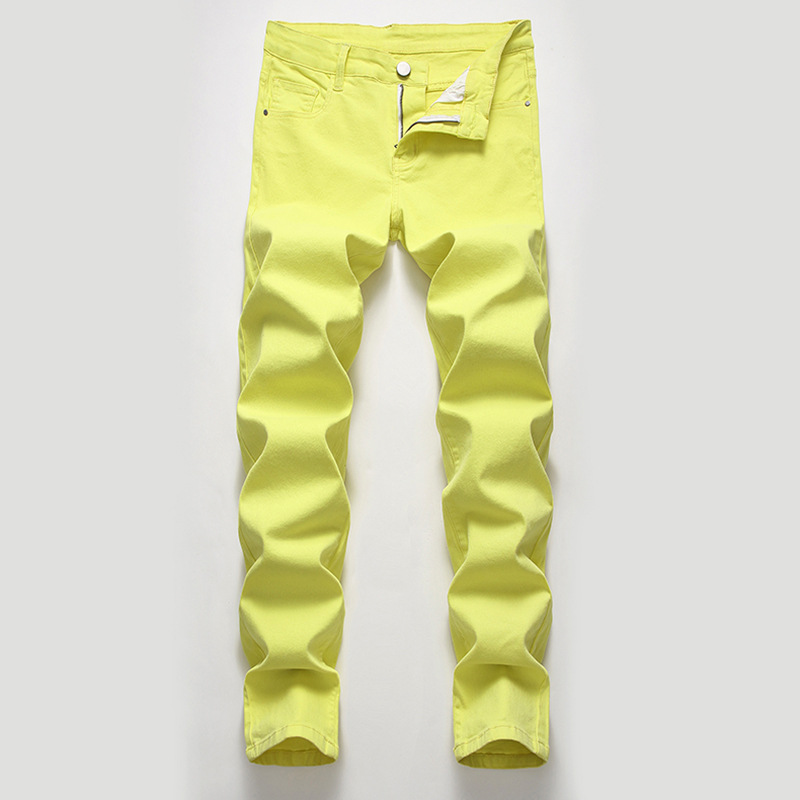2020 Men High Pure Color Jeans Stretch Denim Casual Trousers Thin Multicolor Cotton Quality Jeans