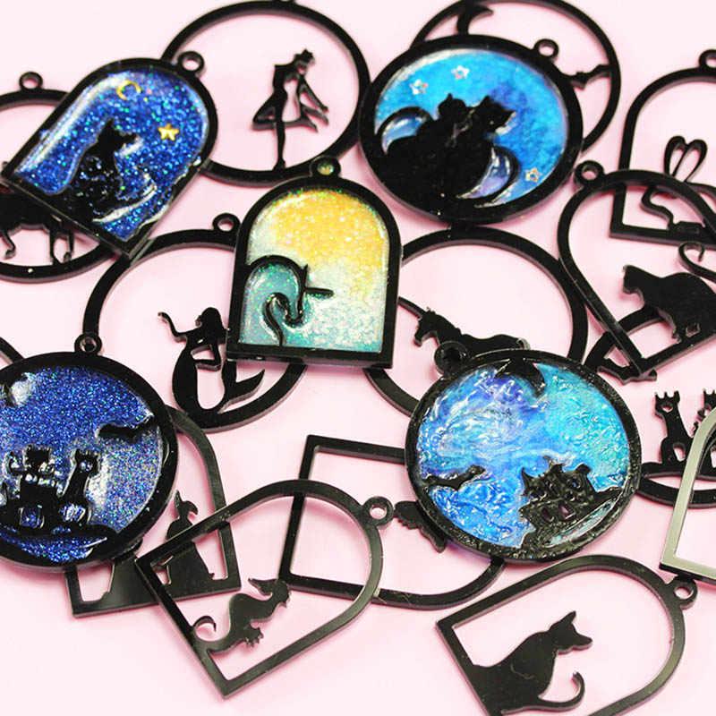 1 Cái Cá Bướm Bé Gái Mèo Thỏ Động Vật Acrylic Khung Mặt Dây Chuyền Charm Vàng Viền Thiết Lập Cabochon Thiết Lập Nhựa Chống UV Quyến Rũ
