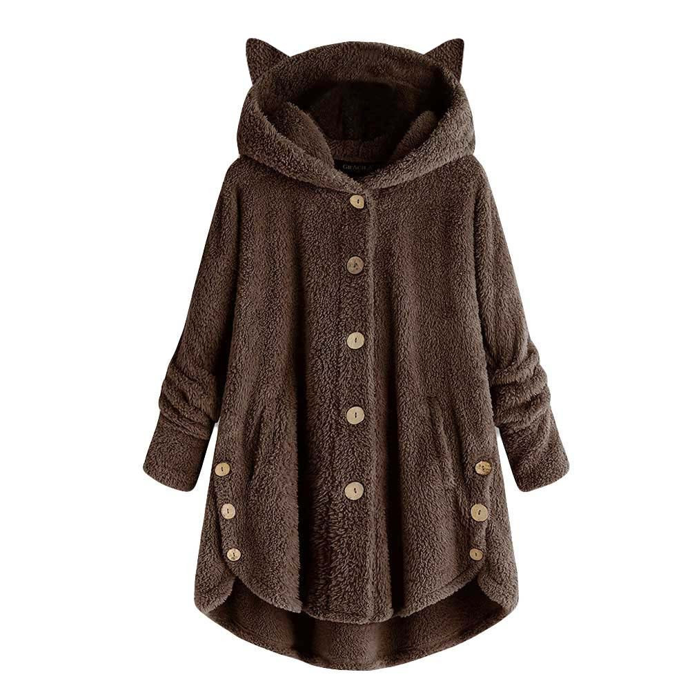 Hc6af35328f58495bbcc7558016e6c661Z Women Flannel Coat Pockets Solid fleece Tops Hooded Pullover Loose Hoodies Plus Size Cat Ear Cute Womens Warm Sweatshirt 2019