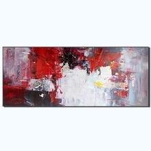 Ручная роспись абстрактный импасто искусство Красный Белый Смешанный